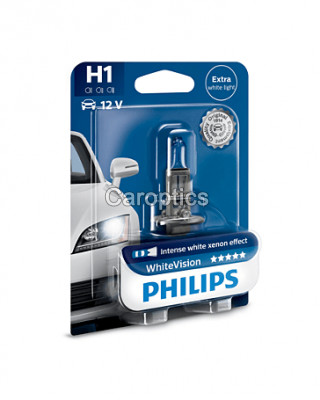 12258 WHV B1 - Лампа H1 (55W) PHILIPS White Vision 3700K +60% яркости (PHILIPS)